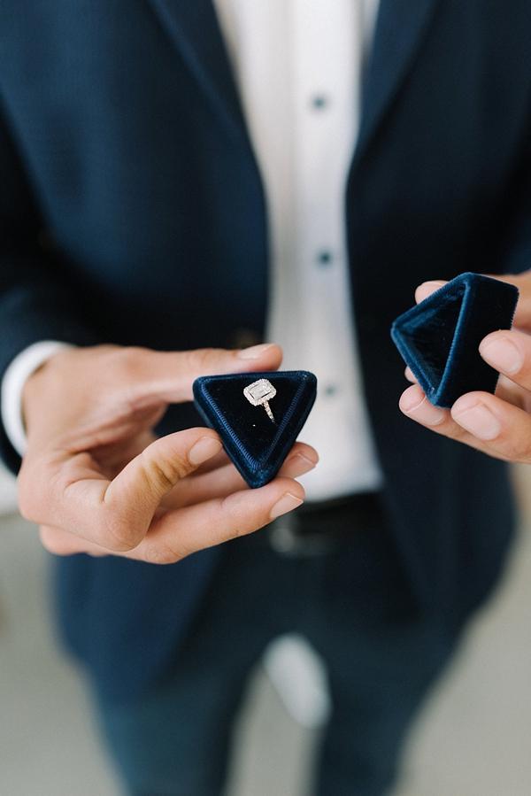 Emerald Cut Ring in Navy Blue Velvet Ring Box