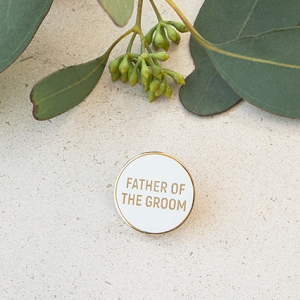 Fun modern wedding enamel pin for father of the bride or groom