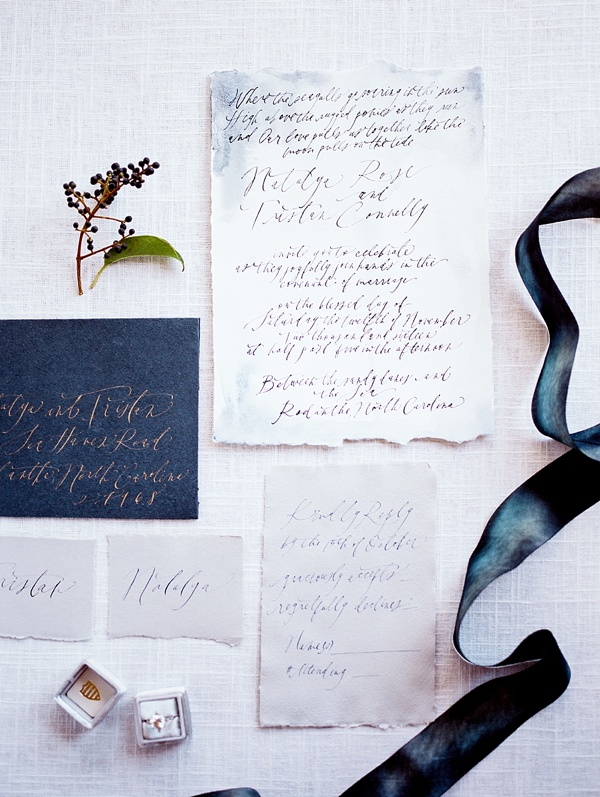 Modern calligraphy elopement announcement
