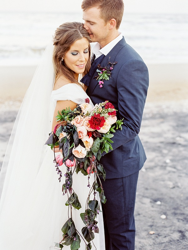 Beach bride and groom elopement