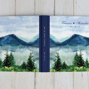 Watercolor Mountain Wedding Guestbook