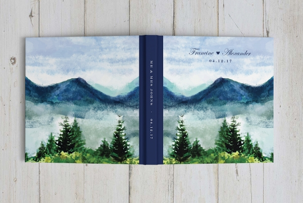 Watercolor Mountain Wedding Guestbook