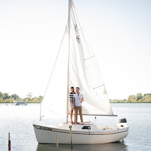Couple on a sailboat