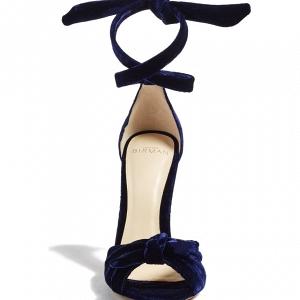 Navy Blue Velvet Heels
