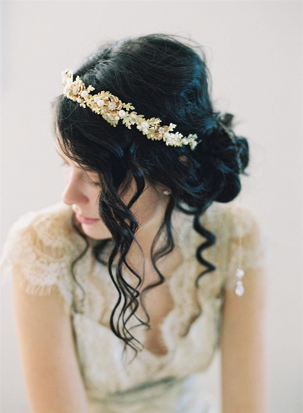 Oak Leaf Inspired Gold Bridal Hairpiece