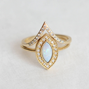 Opal Engagement & Wedding Ring Set