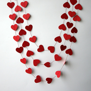 Red Paper Heart Garland