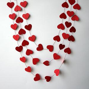 Red Paper Heart Garland