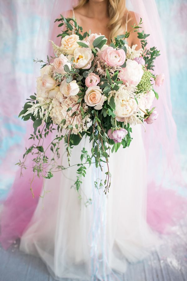 Celestial Wedding Bouquet with Overflowing Flowers