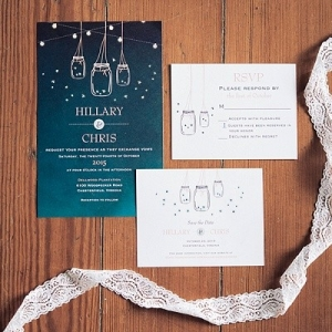 Mason jars and firefly wedding invitation