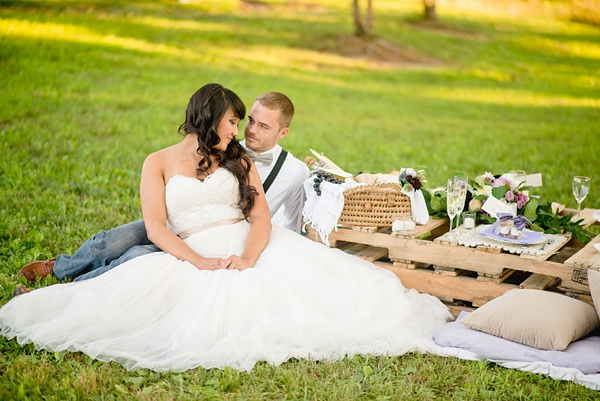 Picnic wedding with bride and groom
