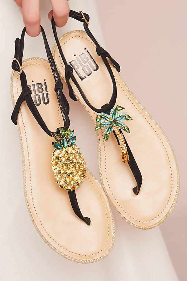 Pineapple and Palm Tree Sandals