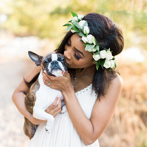 Dog with bride in flower crown
