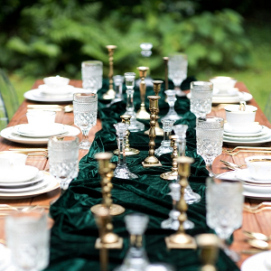 Dark emerald green table runner