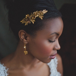Vintage gold bridal comb