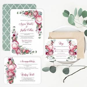 Printable Protea Wedding Invitation