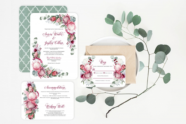 graphic regarding Wedding Stationery Printable titled Printable Protea Wedding day Invitation - Aisle Lifestyle
