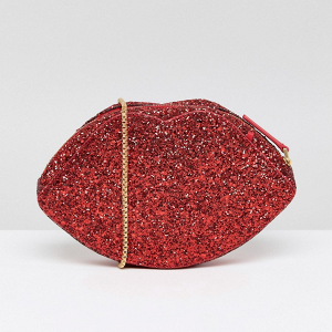 Red Glitter Lips Bag