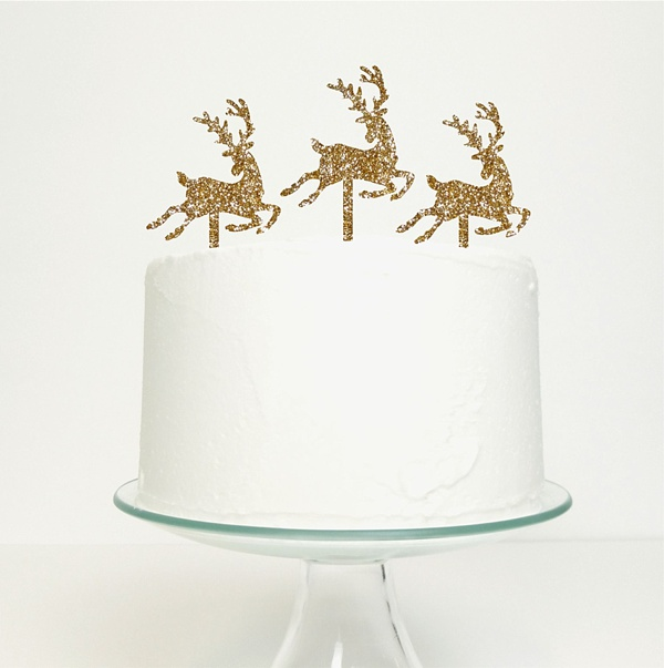 Glitter gold reindeer cake toppers
