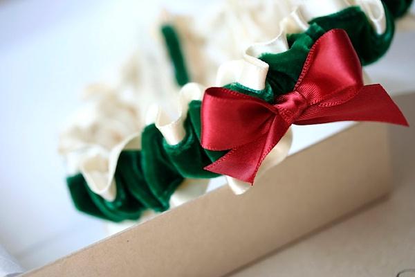 Red and green velvet wedding garter