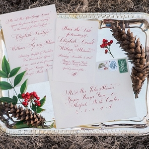 Red and green Christmas wedding invitation
