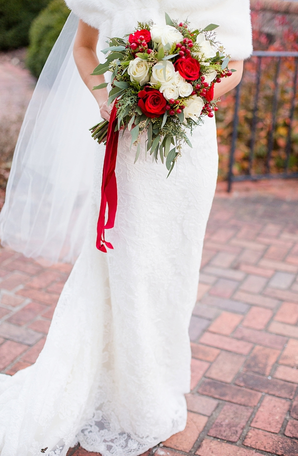 Quintessential Red And White Christmas Wedding