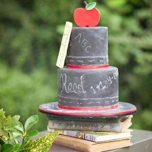 Old school chalkboard wedding cake
