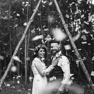 Confetti filled boho wedding ceremony