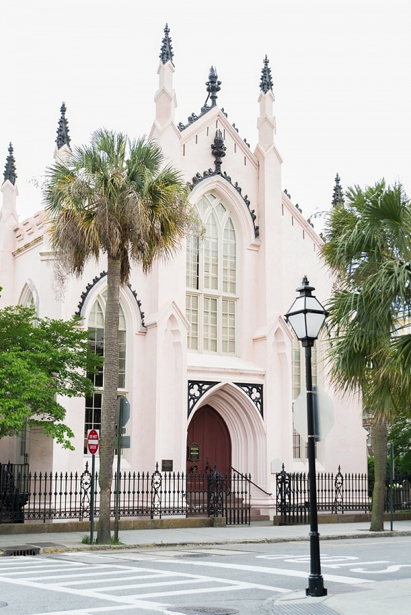 Pastel pink building in Charleston South Carolina