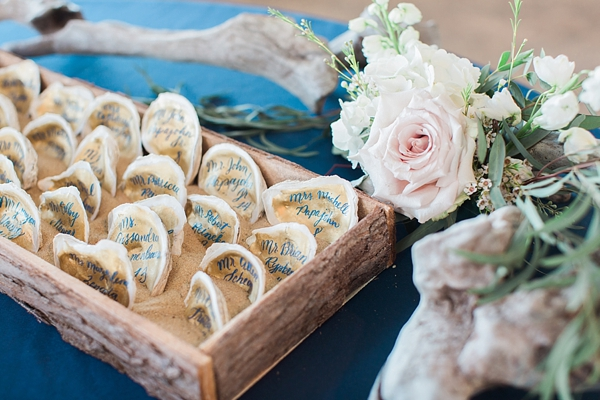 Oyster shell escort cards