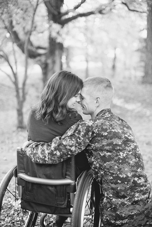 beautiful engaged couple in wheelchair