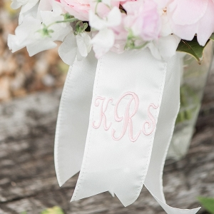 Pink monogram bouquet ribbons
