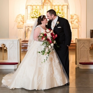 Traditional Catholic bride and groom