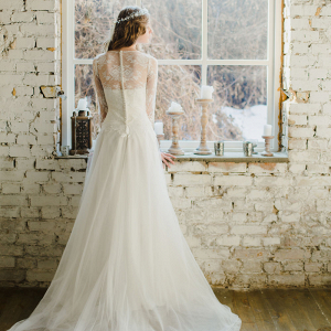 Long Sleeve Winter Wedding Dress Back