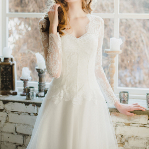 V Neck Winter Wedding Dress