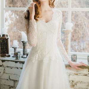 V Neck Winter Wedding Dress