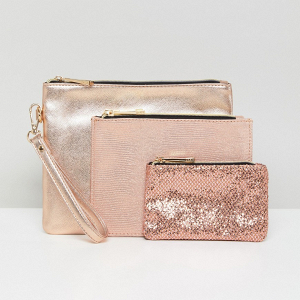Rose Gold Glitter Pouches