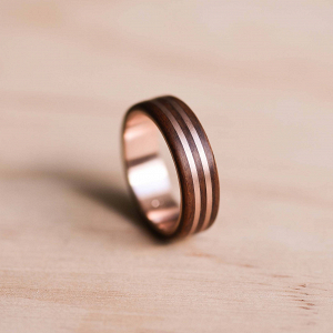 Double Solid Rose Gold Wood Wedding Ring
