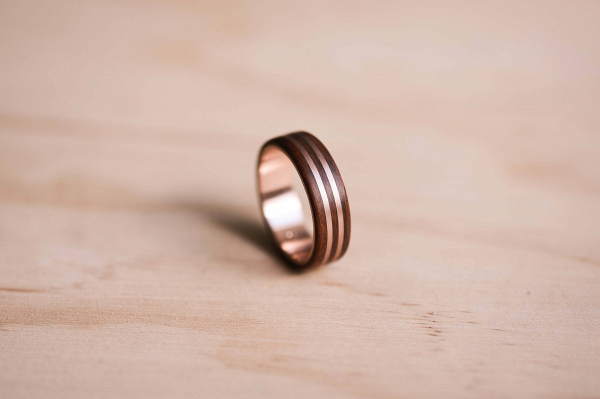 Rose Gold Inlay Rosewood Wedding Ring Aisle Society