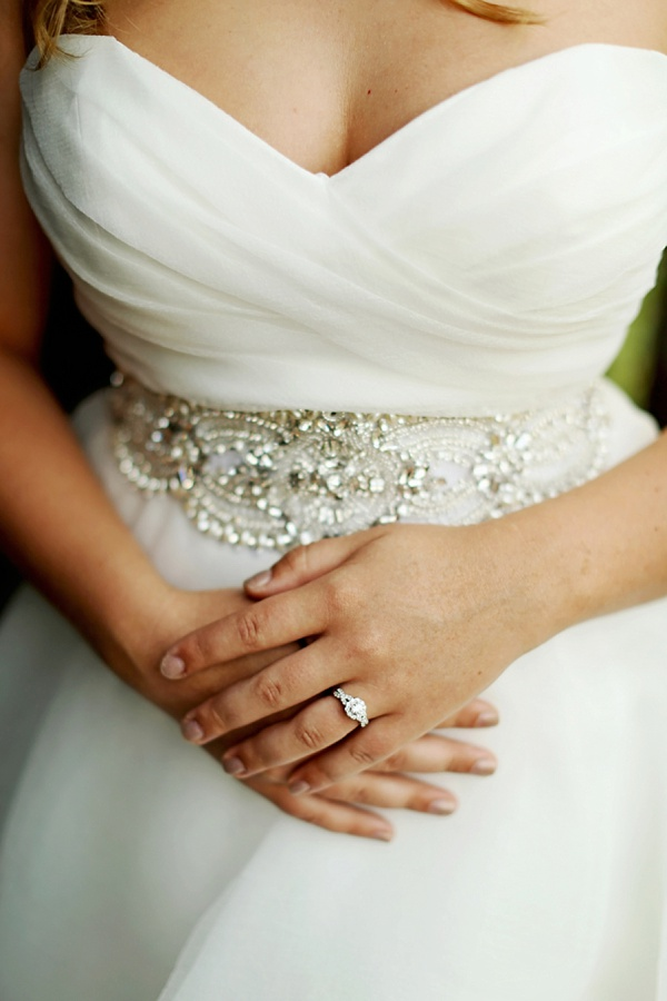Gorgeous ring on engaged bride