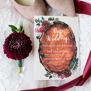 Watercolor Wood Slab Wedding Invitations