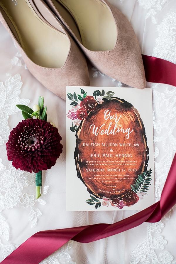 Watercolor Wood Slab Wedding Invitations