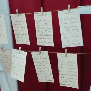 Seating chart with wooden clothespins