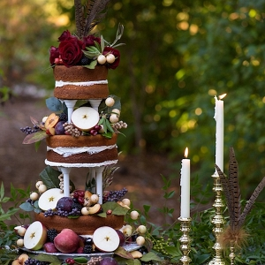 Rustic tiered naked wedding cake