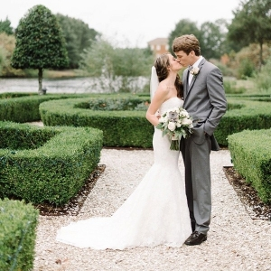 Bride and groom in Virginia garden