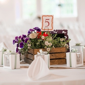 Rustic wildflower wedding centerpiece in wooden box
