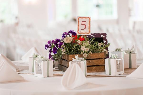 Rustic wildflower wedding centerpiece in wooden box