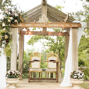Rustic Lake House Ceremony Altar with Christian Bible Verse