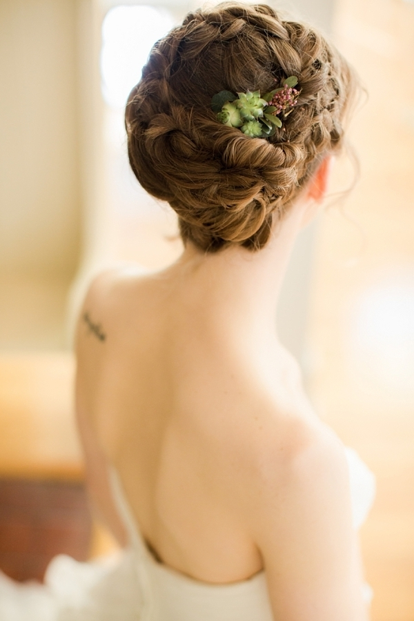 Bridal updo with succulents