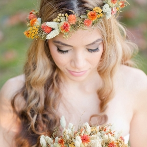 Rustic bride with flower crown